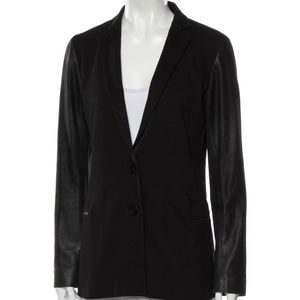 Theory Leather Sleeved Black Blazer